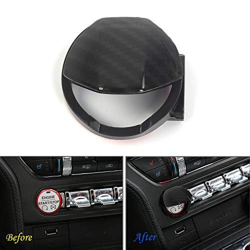 Carbon Fiber Grain Engine Start Stop Button Center Console Switch Cover Trim for Ford Mustang 2015 2016 2017