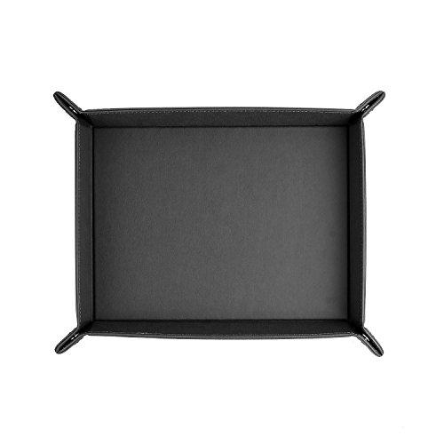 "ONLVAN Jewelry Leather Valet Tray for men travel valet tray(12.8""×10.6""- Black)"
