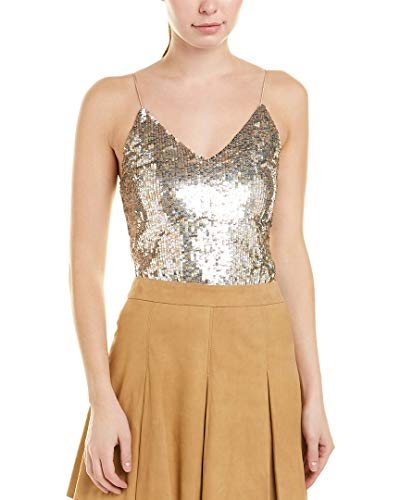alice + olivia Womens Delray Top, S, Silver (Dress Olivia Sequin Alice)