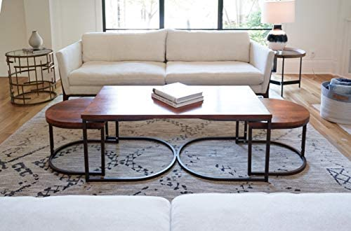 Alveare Home Luton Coffee Nesting Tables, Living Room Furniture, Walnut