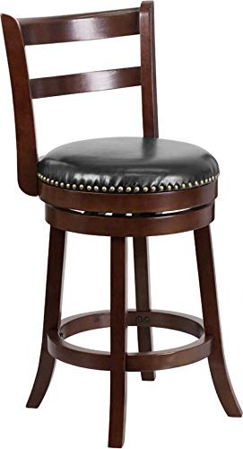 - MPR 26'' High Cappuccino Wood Counter Height Stool with Black Leather Swivel Seat