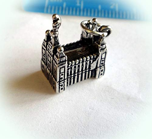 Sterling Silver 3D 11x15mm Mormon Temple in Salt Lake City Utah Charm Vintage Crafting Pendant Jewelry Making Supplies - DIY for Necklace Bracelet Accessories by CharmingSS