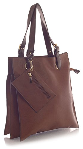 Big Handbag Shop, Borsa tote donna Braun - Medium Tan