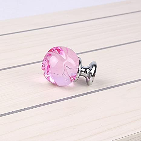 Pink Rose//silver Get Orange 8 Pcs 30mm rose Crystal Glass Alloy Door Drawer Knobs Cabinet Wardrobe Pull Handle Knobs