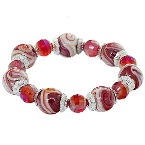 Coloured Glaze Balls Stretch Cord Bracelet Faceted Crystal Spacer Beads Charm Bangle Rhinestone Contractable Wristlet Rondelle Beads Elastic Rope Circlet Fashion Wristband For Women Girls Lady