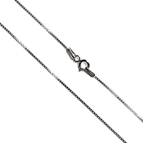 (Dolceoro Italian Made Sterling Silver, Rhodium Plated 1mm Box Chain Necklace Nickel Free, 16