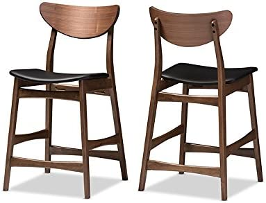 Baxton Studio 2 Piece Latina Scandinavian Style Faux Leather Upholstered Walnut Counter Stool Set, 24 , Black