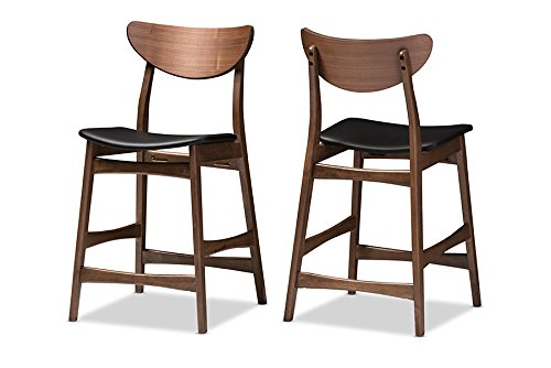 Baxton Studio 2 Piece Latina Scandinavian Style Faux Leather Upholstered Walnut Counter Stool Set, 24″, Black