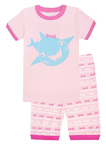 Kids Pajamas Hop Shark Girls Shorts Set Toddler Pajamas Cotton Summer Clothes Sleepwear (Pink,4T)