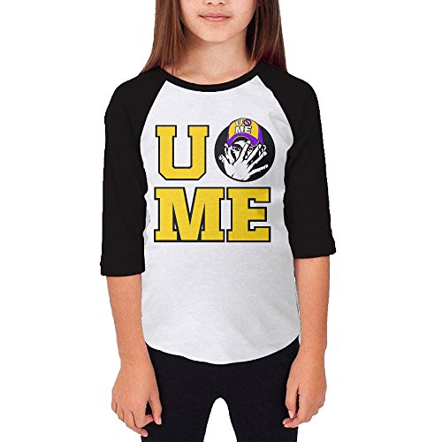 Price comparison product image Tishop John Cena Teenager Girl 3/4 Sleeve Raglan Shirt Black M