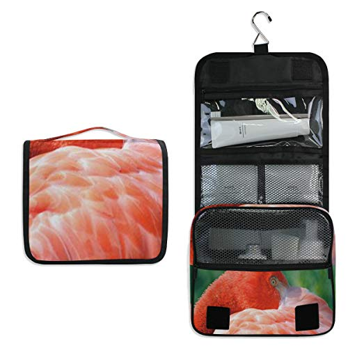 Hanging Toiletry Bag Flamingo Red Large Cosmetic Makeup Travel Organizer for Men & Women with Sturdy Hook ()