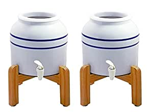 New Wave Enviro 796515300369-BL2wstand Porcelain Dispenser with Wood Counter Stand, Blue Striped (Pack of 2)