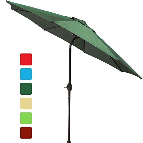 GOLDSUN Patio 9 Ft Market Outdoor Aluminum Patio Table Umbrella with Push Button Tilt and Crank,Dark ()