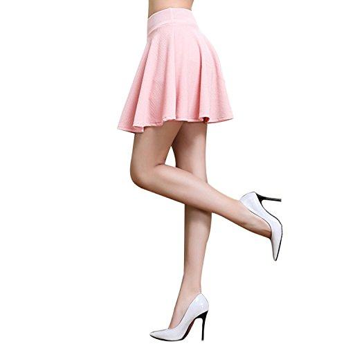 Woven Elastic Skirt Waist (WESTLINK Women Girls Skater Skirt Stretchy Flared Woven Texture Build In Shorts)