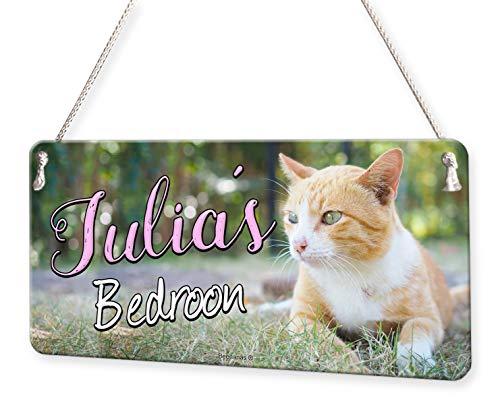 (Cat Kitten Photo Personalised Childs Bedroom Door Sign Name)