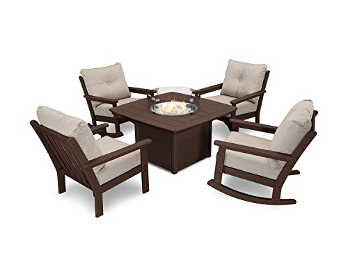 Ash Mahogany Table - POLYWOOD Vineyard 5-Piece Deep Seating Rocking Chair Conversation Set with Fire Pit Table (Mahogany/Cast Ash)
