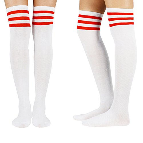 Zando Women Thin Over The Knee Stockings Long Thigh High Socks Striped Tube Cosplay Socks 3 Pairs White Red Pink Blue One Size by Zando (Image #5)