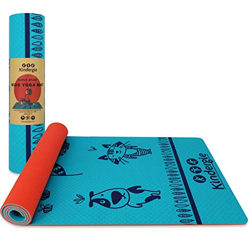 Kindergie Yoga Mat for Kids with Special Teaching Design - Child Size Yoga mat for Boys & Girls 2 to 10 Years Old - Thick & Non Toxic Yoga Mat for Toddlers and Children