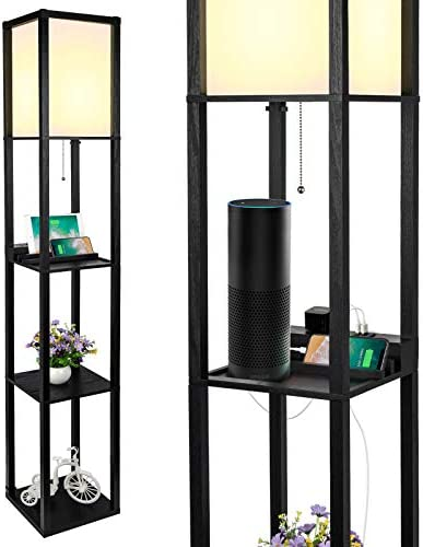 3-in-1 Shelf Floor Lamp with 2 Fast Charging...