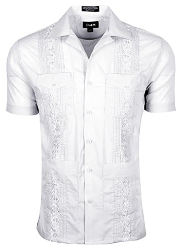 TrueM Men's Short Sleeve Cuban Guayabera Shirts (M, (Conference White T-shirt)