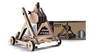Abong Tabletop Laser Cut Trebuchet Kit - Sturdy Wooden Miniature Catapult Model - Ultimate Long Range Attack - Ideal for Classroom Demonstration