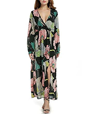 905b43a43d9 Image Unavailable. Image not available for. Color: Asatr Women's Sexy Deep  V Neck Vintage Floral Print Wrap Maxi Dress Casual Bohemian Skater Dress