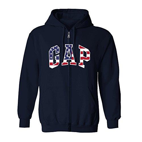 GAP Men's Full Zip Fleece Logo Hoodie (XX-Large, Charcoal USA) ()