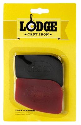 Lodge SCRAPERPK Durable Polycarbonate Pan Scrapers, Red and Black
