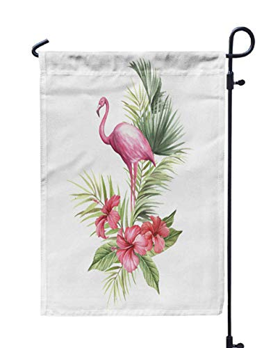 Shorping Welcome Garden Flag, 12x18Inch Flamingo Tropical Flowers Draw Watercolor for Holiday and Seasonal Double-Sided Printing Yards Flags -