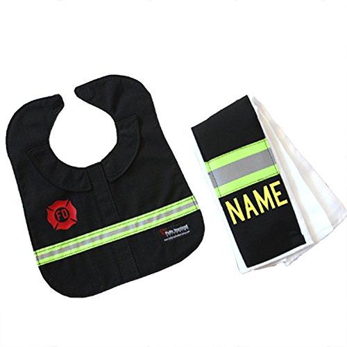 Personalized Firefighter Black Burp Rag and Bib ()