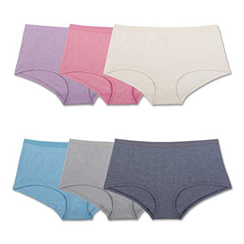 Fruit of the Loom Women's Underwear Beyond Soft Panties (Regular & Plus Size), Boyshort - 6 Pack - Assorted Color, 8
