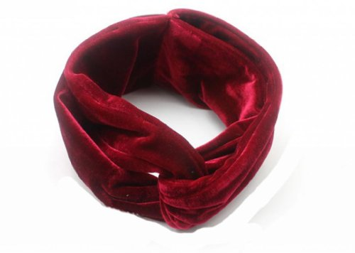 WIIPU Womens Headband Solid Velvet Turban Twist Bow Knot Headband Headwrap(N76)red