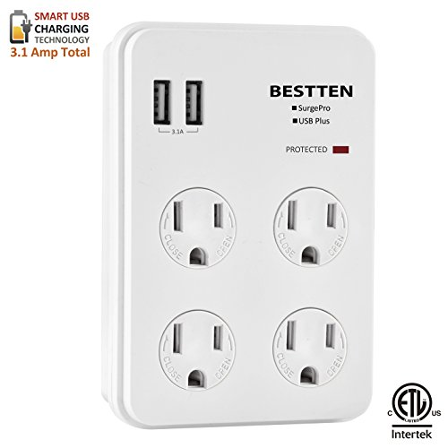 Bestten Wall Outlet Adapter Surge Protector with 2 USB Charging Ports (2.4A/Port, 3.1A Total), 4 Electrical Outlet Multipliers with Safety Covers, ETL Certified