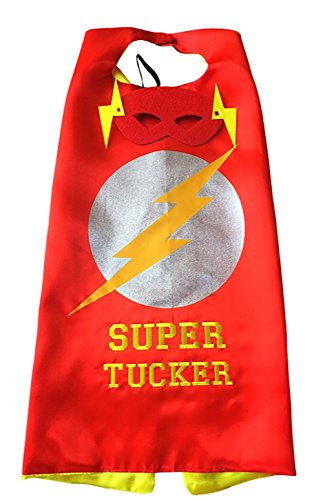 Thimbleful Threads Personalized Superhero Cape and Mask Set by (Lightning Bolt Cape with Yellow Embroidery)