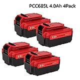 4Pack 20V Max 4.0Ah Lithium PCC685L Replacement Battery Compatible Porter Cable PCC685L PCC680L Cordless Tools Batteries