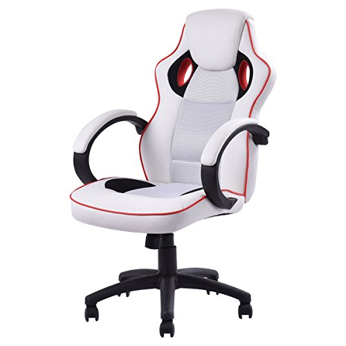 giantex executive swivel gaming chair high back sport racing style ergonomic adjustable chair white
