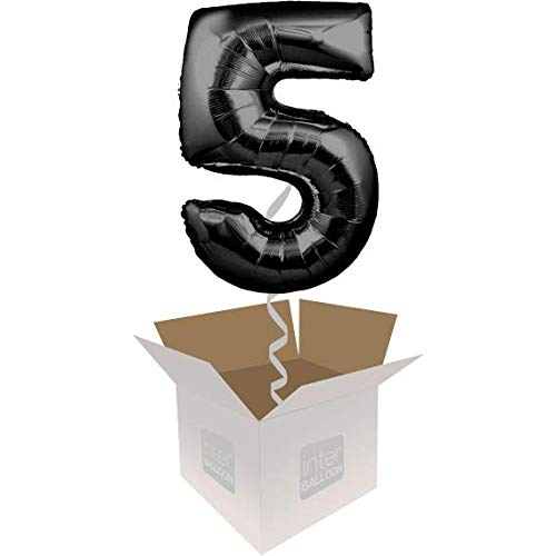 Single Balloon InterBalloon Helium Inflated 34  Number 5 Black Megaloon Balloon Delivered in a Box with 4 Extra Balloons of your choice