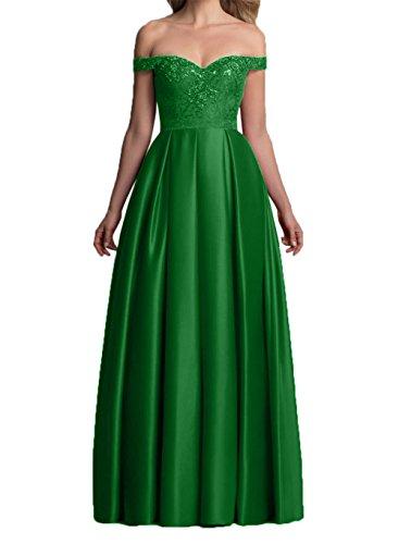 Charmant mit Abendkleider Rot Langes Satin Kurzarm Damen Brautmutterkleider Grün Festlichkleider Dunkel Partykleider rCawqrF