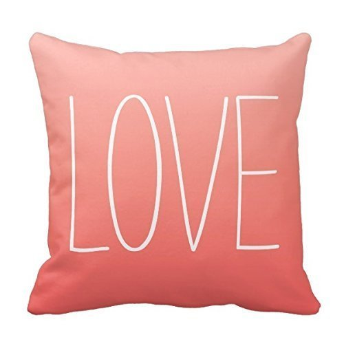 DECORLUTION Coral Pink Ombr¨¦ Love Pillow Decorative Throw Pillowcase Cushion Case 18 X 18