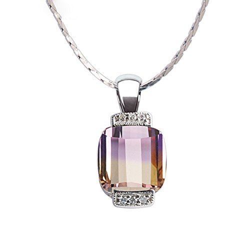 iSTONE Bolivia Ametrine Gemstone Crystal 925 Silver Pendant with Necklace 16inch