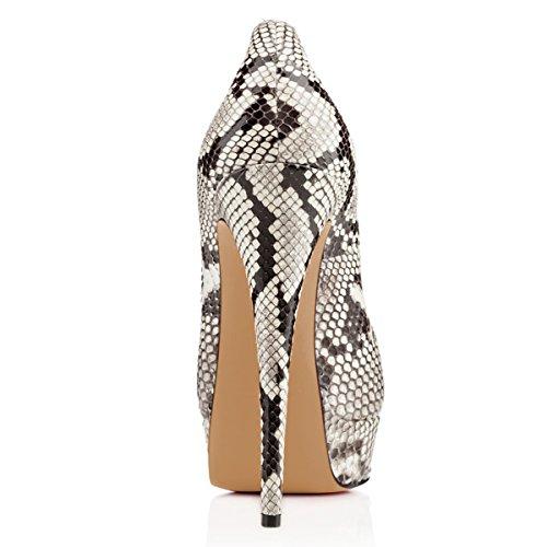 Stilettos FSJ 4 Print Platform Sexy Peep Snake Prom Women Heels Shoes 15 Size Toe High for Pumps rfBXrq4
