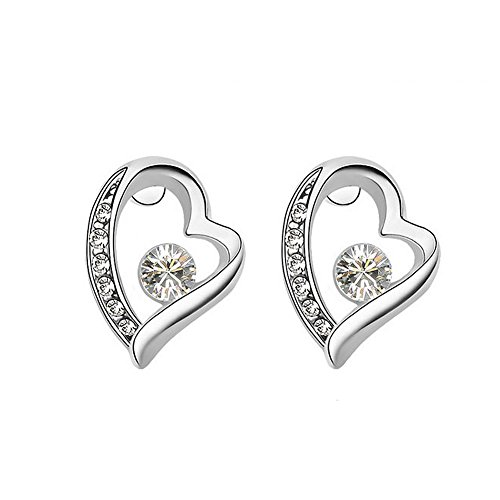 heart silver earrings for women_stud earrings for girls ladies_cubic zirconia earrings studs_crystal earrings