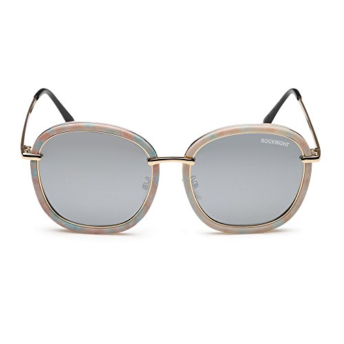Rocknight Oversized Round Sunglasses Polarized Women Silver Mirrored Lens Flower Frame Oval UV Protection Outdoor - Eyeglasses Framed Thick