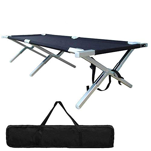 Portable Folding Camping Cot Outdoor Military Aluminum Lightweight Camp Cot for Adult Tent Hunting and House-Using Indoor with Zippered Storage Bag Easy Set Up - Test 400 lbs Weight Capacity