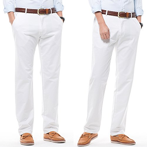 Men's Stretch Casual Pants Flat Front Regular Fit Dress Pants Trousers for Men,Size 34 White Pants by MIYA (Image #6)