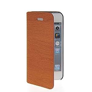 Wadinter [Marron] Wood Grain Funda Carcasa PU de Cuero Ultra Delgado Flip Folio Case Cover Wallet Billetera Soporte Stand con Ranura de La Tarjeta de Crédito for Apple iPhone 5 5S