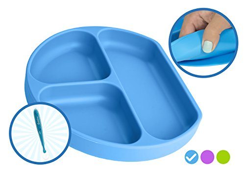 Babiere Silicone Toddler Plate - Powerful Suction Base Stays Put to Highchair - Grip Dish with Divided Sections - BPA & Toxin Free, Microwave & Freezer Safe - Free Silicone Baby Spoon - Blue