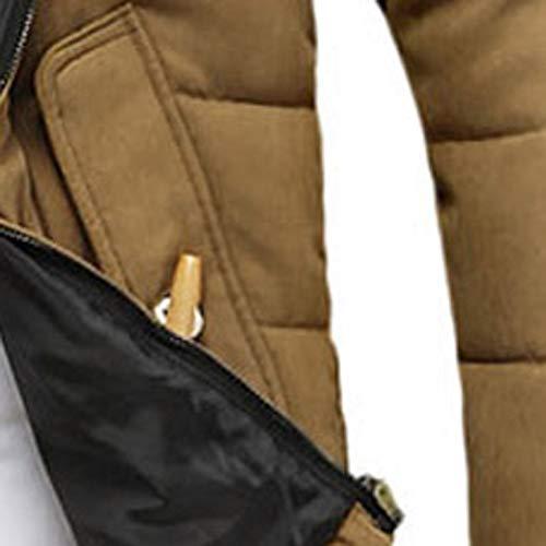 Abrigo Capucha Con Engrosamiento Bolsillo Top Invierno Manga Blusa Kinlene Outwear Caqui Larga Hombres x8HSZqa