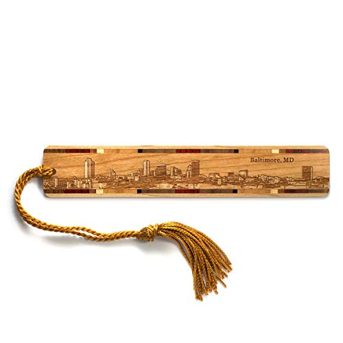 Engraved Wooden Bookmark - Baltimore Maryland Skyline with Tassel - Search B079J7K2B9 to See Personalized Version.