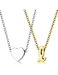 "2pcs Stainless Steel Gold Tone Initial Necklace Silver Tone Heart Necklace Set Alphabet Pendant Necklace 16"" with 2"" extender Mothers Day Jewelry"